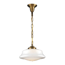 Rejuvenation: Kitchen - The Mason is a chain pendant fixture that originated in the early 1900s. Available in 12 hand-applied finishes. Shown here with a low-profile schoolhouse shade.