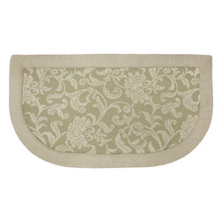 "Mohawk Home - Imports Floral Scroll Tanbor Sage Contemporary Scrolls 20"" x 3' Slice Rug - This cushioned mat that offers a cozy feel to your home decor. This mat features anti-fatigue memory foam and is stain resistant. Easy to clean, no bleach or detergent necessary, blot spills with a dry cloth & air dry.Non Woven Backing w/PVC Dots"