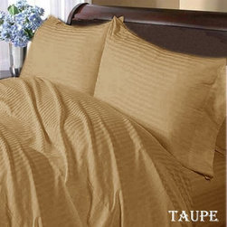 SCALA - 600TC Stripe Taupe Full XL Flat Sheet & 2 Pillowcases - Redefine your everyday elegance with these luxuriously super soft Flat Sheet . This is 100% Egyptian Cotton Superior quality Flat Sheet that are truly worthy of a classy and elegant look.