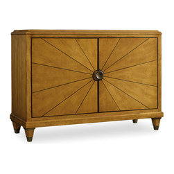 Hooker - Hooker Furniture Palisade Door Chest - The two doors of this Door Chest are decorated with carved lines stemming from the door handle, creating a stunning sunburst effect. Four adjustable wood shelves with a center partition lay behind the two doors, providing space for small and large items alike. Enhance your living room or hallway decor with the warm styling and classic beauty of this two door chest.