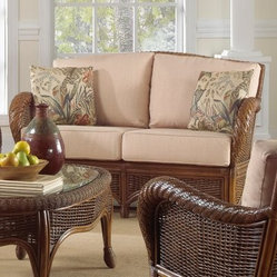 Hospitality Rattan Turks Bay Full Frame Rattan & Wicker Loveseat with Cushio