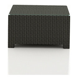 Forever Patio - Barbados Outdoor Wicker Coffee Table, Ebony Wicker - The Forever Patio Barbados Rattan Patio Coffee Table (SKU FP-BAR-CT-EB) is an excellent addition to any Barbados patio set, providing a functional table space with lots of style. The UV-protected, ebony-colored resin wicker sports a flat woven design, creating a contemporary look with clean lines. Each strand of this outdoor wicker is made from High-Density Polyethylene (HDPE) and is infused with its rich color and UV-inhibitors that prevent cracking, chipping and fading ordinarily caused by sunlight. This patio wicker Coffee table is supported by thick-gauged, powder-coated aluminum frames that make it more durable than natural rattan. A tempered glass table top is included with this table, adding an extra touch of modern style to your wicker outdoor dining table.