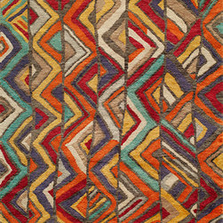 """Momeni - Madagascar Multi Transitional Chevron 2'3"""" x 8' Runner Momeni Rug by RugLots - Inspired by the Southwest, African and Latin American cultures, Madagascar is on point with its vibrant color palette and edgy patterns. This collection is a natural response to bringing the popular globally influenced trend to the home fashion world. Hand-knotted in India with 100% New Zealand Wool."""