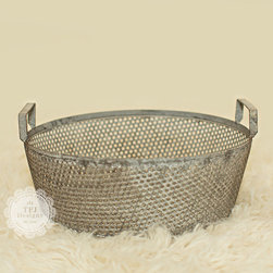 Gunmetal Gray Metal Basket With Handles - I want this in my garden. It would hold all of my gardening tools.