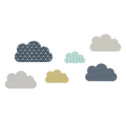the lovely wall co. - Geo Clouds Wall Decal, Blue Grey Green - Boys - Geo Clouds - Wall Decal