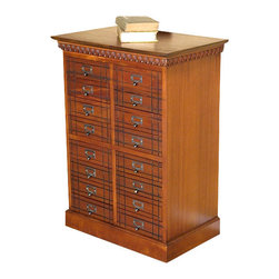 MBW Furniture - Solid Mahogany 16 Drawer Apothecary Medicine Cabinet - This is a beautiful solid mahogany 16 drawer apothecary medicine cabinet. It has a traditional top surface with very fancy fretwork below its edge and it features a total of 16 smooth operating drawers that have beautiful facings with decorative fluted designs and very attractive metal handles. Add a touch of elegance to your home decor with this beautiful piece of furniture!