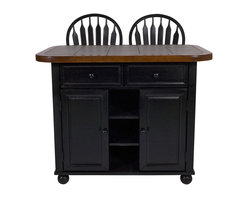 Sunset Trading - 3-Pc Eco-Friendly Island Set - Includes two counter height bar stools and one kitchen island. Unique, multi-functionally designed and versatile in style. Perfect for preparing large-scale family meals or serving drinks and appetizers when entertaining guests. Island with two spacious large drawer for dining linens and utensils. Adequate storage space. Hand crafted. Ceramic tile sliding counter top with three adjustable locking positions. Two doors underneath open to one adjustable shelf for convenient access and storage. Three open fixed shelves for prominent display of decorative mixing bowls, baskets or gourmet cookware. Four bun feet at bottom of base. Cantered over island base, front side overhang or back side overhang. Overhang position roughly 12 in. with space to accommodate two bar stools on either side. Sliding counter top conveniently converts island into breakfast bar perfect for casual quick dining. Accommodating seating for two people. Windsor style, comfort back barstool with scooped swivel seat. Steel reinforced turned legs. Curved back support. Warranty: One year. Made from Malaysian oak. Cherry top, gray tile and antique black finished base and stool. Made in Thailand. Assembly required. Seat height: 24 in.. Stool: 19.5 in. W x 19 in. D x 44 in. H (24.25 lbs.). Island: 47 in. L x 31.3 in. W x 36 in. H (197.5 lbs.)This beautifully designed kitchen island supplied by Sunset Trading will assure you many years of use and enjoyment. Enhance the beauty and warmth of your kitchen while extending your work surface, dining entertaining and storage space with this Island from the Sunset Trading Sunset Selections Collection. This adaptable island instantly converts to meet your quick-changing lifestyle needs. This unique Kitchen Island will be sure to complement your kitchen decor and provide a welcome gathering place for your family and friends for years to come!