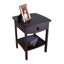Winsome - Winsome Basics Solid Wood End Table / Nightstand in Black - Winsome - Nightstands - 20218 - The Winsome Basics Nightstand projects subtle style with it's gently rounded corners. Its simple design and minimal detail makes it a perfect addition to a variety of decor styles and practicality is part of it's appeal as well with one drawer and a convenient open shelf for bedside storage.