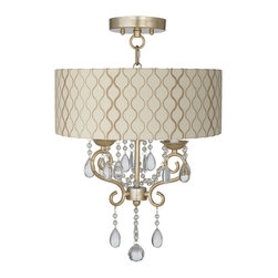 """Lamps Plus - Traditional Conti 14"""" Wide Ceiling Light with Hourglass Shade - This semi-flushmount ceiling light comes in a beautiful champagne gold finish. The design offers the classic look of a chandelier and is updated with a stylish designer off-white fabric shade with an embroidered hourglass pattern. A wonderfully refreshing designer look for your living space.  Champagne gold finish. Off-white fabric shade with an embroidered hourglass pattern. Semi-flushmount ceiling light. Takes three 60 watt candelabra bulbs (not included). 23 1/2"""" high. Chandelier only is 18"""" high 12"""" wide. Shade is 16"""" wide 6"""" high. Canopy is 5 1/2"""" wide. Some assembly required; instructions included.  Champagne gold finish.  Off-white fabric shade with an embroidered hourglass pattern.  Semi-flushmount ceiling light.  Takes three 60 watt candelabra bulbs (not included).  23 1/2"""" high.  Chandelier only is 18"""" high 12"""" wide.  Shade is 16"""" wide 6"""" high.  Canopy is 5 1/2"""" wide.  Some assembly required; instructions included."""