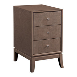 Bassett Mirror Company - Bassett Mirror Latitude 3 Drawer Chairside Chest in Chocolate - 3 Drawer Chairside Chest in Chocolate belongs to Latitude Collection by Bassett Mirror Company Woven fabric in Chocolate, hardware in sterling finish. Chest (1)