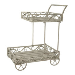 Oriental Furniture - Handcart Outdoor Planter - Vintage style wheeled handcart, crafted using wood and wrought iron. Tiered trays have rustic wood slab bases finished in a highly distressed, textured white paint. Wrought iron railings, rod frame, and rounded spoke wheels feature same antiqued white paint finish. Use as a shabby chic decorative porch or garden display for plants, statues, and other garden trinkets.