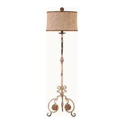 "Guildmaster - Scroll Leg Floor Lamp by Guildmaster - A graceful scrolling of antiqued white metal makes up the base of a whimsical floor lamp. A textured earth toned burlap-like shade is defined with upper and lower finishing detail and topped with a decorative metal finial. A 3-way bulb allows versatility in light intensity. (GM) 18"" diameter x 62.25"" high Shade: 17"" wide at the top and 18"" wide at the bottom x 10.5"" high 3-way - 150W bulb"