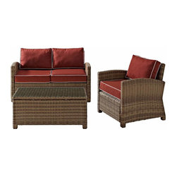 Crosley - Biltmore 3 Piece Outdoor Wicker Seating Set - Loveseat, Arm Chair & Glass Table - The modular design of the Biltmore 3-Piece Outdoor Wicker Conversation Set by Crosley allows you to customized seating area in your backyard. Coordinate with other Biltmore Wicker pieces or create your own configuration (additional pieces sold separately)