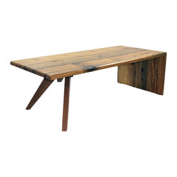 "Fable Porch Furniture - Searching Mars Modern Coffee Table|Reclaimed Riverwood - Bench made from 300 year old locally harvested reclaimed river wood from the cape fear river basin. Perfect grain match mitered end. Vermont Natural Coatings non toxic natural finish. Dimensions 53"" x 24""x 17""h."