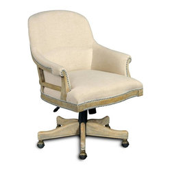 """Hooker Furniture - Larkin Oat Executive Swivel Tilt Chair - White glove, in-home delivery!  For this item, additional shipping fee will apply.  Developed by one of America's premier manufacturers to offer quality furniture at affordable prices.  Each piece is meticulously hand-crafted using the most exquisite fabrics in the world.  The Larkin Oat Executive Swivel Tilt Chair is crafted using Larkin Oat fabric.  Frame Construction- Kiln dried, laminated, and select hardwoods that are precision machined for fluid and consistent shape.  Larkin Oat Fabric Contents: 60% Polyester, 40% Linen.  Clean water-based stains with water-based cleaning agent and oil-based stains with solvents. Leg Finish: Sorella.  Inside Dimensions: 19 1/4"""" w x 21 1/2"""" d  Seat Height adjusts: 17"""" h to 20"""" h  Arm Height adjusts: 21 3/4"""" h to 24 3/4"""" h  Padding- Pattern cut urethane foam that is padded with felt polyester fibers, assuring the important qualities of comfort, loft, resilience, and good recovery.  Seat- A high resilient, high density foam core wrapped with virgin polyester fibers, assuring luxurious comfort and pleasing crown appearance.  This is then covered with a special ticking for pillow soft comfort.  Seat- Back Filled with precision cut foam and highly resilient polyester fibers or filled with 100% virgin polyester fibers enclosed in a special ticking for pillow soft comfort.  The color of fabric and leather may vary from that shown on screen."""