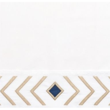 Serena & Lily - Sand/Navy Canyon Pillowcases - The shape of a feather (abstracted and made graphic) is the design icon of our embroidered sheet set. On crisp white, it adds the perfect pop of interest and pairs well with a multitude of colors and patterns.