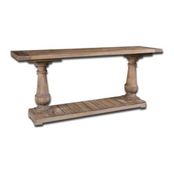 Stratford Rustic Console - Solidly Constructed Of Salvaged Fir Lumber And Hand Turned Balusters. Sun Faded And Distressed Patina Is Finished With A Stony Gray Wash.