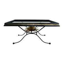 "Dr. Livingstone I Presume - Black Iron Cocktail Table by Dr. Livingstone I Presume - Traditional styling is raised to new heights with the addition of an Italian gold finished artichoke placed beneath the framed glass table top. A black and gold fluted iron border provides the ideal balance and border for creative displaying. From formal to traditional, this cocktail table offers versatility. (DLIP) 44"" wide x 24.75"" deep x 19.25"" high"