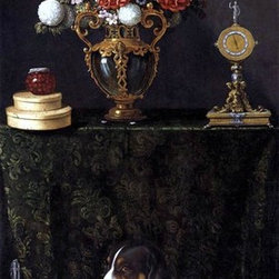 """Juan Van der Hamen Still Life with Flowers and a Dog - 14"""" x 28""""  Print - 14"""" x 28"""" Juan Van der Hamen Still Life with Flowers and a Dog premium archival print reproduced to meet museum quality standards. Our museum quality archival prints are produced using high-precision print technology for a more accurate reproduction printed on high quality, heavyweight matte presentation paper with fade-resistant, archival inks. Our progressive business model allows us to offer works of art to you at the best wholesale pricing, significantly less than art gallery prices, affordable to all. This line of artwork is produced with extra white border space (if you choose to have it framed, for your framer to work with to frame properly or utilize a larger mat and/or frame).  We present a comprehensive collection of exceptional art reproductions byJuan Van der Hamen."""