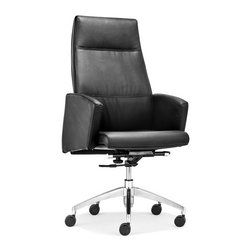 ZUO - Chieftain High Back Office Chair - Black - Imposing on its rolling steel frame, the Chieftain Office Chair will take you to the top. Go with the black for power or white for elegance. Comes with a high or low back.