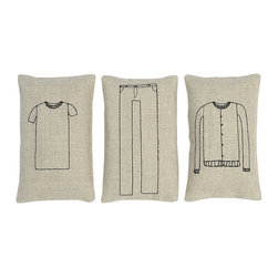 k studio - Sachet Set, Clothes - Set of three includes jeans, sweater, and t-shirt. Lavender scented. Black embroidery.