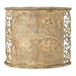 Frederick Ramond - Fredrick Ramond Carabel 2-Light Sconce - Carabels flourishing pierced metalwork creates a stunning artistic design in a luxurious Brushed Champagne finish. The elegant scroll detail  inset ivory linen shades and etched diffusers add to the beauty of this collection.