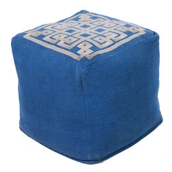 "Surya - Surya Pouf Blue Ashes 18"" x 18"" x 18"" Accent Furniture Pouf - This square pouf offers a fresh design and bright colors that will add sophistication and visual interest to any room. Made in India of mostly Linen, this product is durable and priced right. Poof Measurements are: 18"" x 18"" x 18"", Poof is made of: 85% Linen / 15% Others, Color is: Teal."