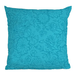 DENY Designs - DENY Designs Khristian A Howell Desert Daydreams 2 Throw Pillow - It's not a bad thing to have your head in the clouds. Sit back and let your mind wander with the DENY Designs Khristian A Howell Desert Daydreams 2 Throw Pillow! Long-lasting color and comfort are sure to follow the woven polyester cover, printed using a special dye process. Based out of Denver, CO, DENY works with artists and art communities from all over the world to create custom home decor accessories just for you. A subtle floral print in slightly darker blue against a turquoise background makes for a vibrant pillow you can match with other bold colors or single it out around crisp whites.Custom printed to orderFade resistantWoven polyester coverConcealed zipper6-color dye processKhristian A Howell collection