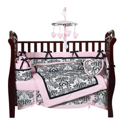 Sweet Jojo Designs - Sophia 9-Piece Baby Bedding Set - The Sophia 9 Piece Baby Bedding Set is just one of the crib bedding sets we offer from Sweet Jojo Designs. The 9-Piece crib bedding set includes a crib blanket, fitted crib sheet, crib bumper pads, crib skirt (dust ruffle), diaper stacker, toy bag, decorative pillow, and two window valances.