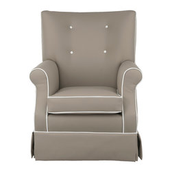 Oilo - Gus Glider, Taupe Faux Leather, Soft White Piping - A comfortable glider is an absolute must in a baby's room. This faux leather glider with sophisticated contrasting piping is proof that you don't have to trade style for parenthood. And you'll be especially thankful for the water- and stain-repellent material during those clumsy middle-of-the-night feedings.