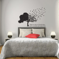 Birds Fly Away From Tree Matte Removable Wall Vinyl - Maybe one day we'll find the place where our dreams and reality collide.