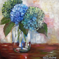 Blue Hydrangea Bouquet In Clear Fruit Jar Still Life Painting (Original) by Cher - I love the flower, hydrangea.  I prefer the blue ones; however, they come in many hues of pinks, purples and blues.  I felt very free and expressive as I painted this particular still life.  So much fun to paint!!!!