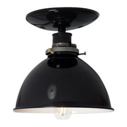Industrial Light Electric - Black Metal Shade Lamp - Semi Flush Mount, 60 Watt Tube Bulb - This Custom Made to Order Ceiling Mount Light comes with: