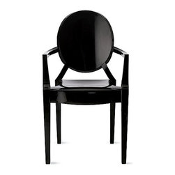 Kartell - Louis Ghost Armchair, Set of 2, Matte Glossy Black - This sophisticated chair weds classic baroque style with an innovative modern design. Pared down to an essential form that's been boldly reinterpreted in batch-dyed polycarbonate, it offers you a sleek, sophisticated seating option that sits well in any setting — indoors or out.