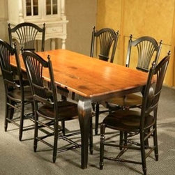 Pine Dining Table With Brown Cherry Finish With Black French Legs - Made by www.ecustomfinishes.com