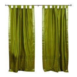 Indian Selections - Pair of Olive Green Tab Top Sheer Sari Curtains, 43 X 120 In. - Size of each curtain: 43 Inches wide X 120 Inches drop