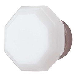 Renovators Supply - Cabinet Knobs Milk Glass Old Town 1 1/4'' Dia Antique Brass Back - Brighten up your look with this 1 1/4 inch milk glass cabinet knob with an antique brass backing.