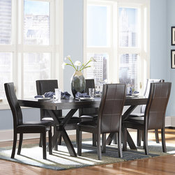 Tribecca Home - TRIBECCA HOME Dartford Espresso 7-piece Contoured Dining Set - You'll invite guests over with confidence when you have this modern seven-piece dining set in your dining room. This set from the Dartford collection features a sleek contemporary design and a dark espresso finish that works well with modern decors.