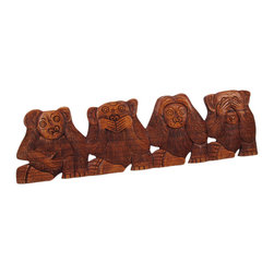 Carved Mahogany NO EVIL Monkeys Wall Hanging See Hear Speak Do - Made in Indonesia, this funny NO Evil monkey wall hanging features 4 monkeys in the classic `see no evil, hear no evil, speak no evil, and do no evil` pose is hand-carved from Indonesian mahogany. Measuring 20 inches long, 6 inches wide and 3/4 of an inch deep, it looks great on walls in patios, outdoor tiki bars or any other jungle themed room.This wall hanging makes a great gift for friends and family. NOTE: Since these are hand carved and hand painted, there may be slight color or facial differences from the pictures. These won`t last long, so get yours now!