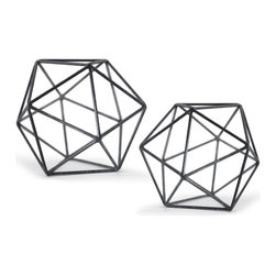 "Kathy Kuo Home - Lassus Industrial Loft Zinc Iron Polyhedron Sculpture - Set of 2 - Were you one of those students who spaced out in geometry class, thinking ""when will I ever use this information?""  Well that day has come.  This zinc polyhedron expresses the brains and beauty to perfection.  As a display piece, this one gets straight A's. Set comes with small and large polyhedron."
