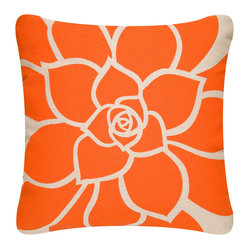Bloom Outdoor Eco Pillow, Tangerine/Papyrus, Without Insert