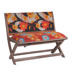 Modelli Creations - One Of A Kind Kantha Bench In Bright Floral Prints - This bench is made of shesham wood and folds for easy stow away. Upholstered with beautiful kantha fabric this bench will add interest and color to any space
