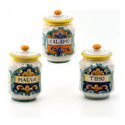 Artistica - Hand Made in Italy - RUSTICA: Mini canister Set (Set of three pcs.) - DERUTA VARIO Collection: Over 500 years of artistic heritage has produced a multitude of ceramic artists in the Italian town of Deruta.