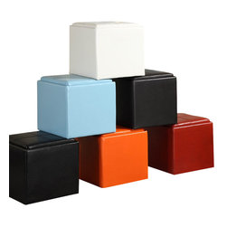 Homelegance - Homelegance Ladd Storage Cube Ottoman in Bi-Cast Vinyl - White - Bi-cast vinyl storage cube ottoman opens to reveal a smaller ottoman inside. Available in green, red, orange, black, brown, blue and white.
