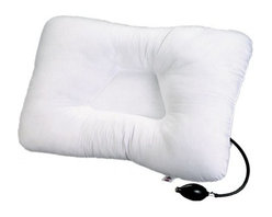 Core Products International - Air Core Adjustable Pillow - Neck Pillow Inflatable Air Pillow - Sense the softness of the great mix of air and memory foam! This new Memory Foam material is improved with an air insert that maximizes first lobe firmness with every pump. There is also a smaller lobe that offers normal, firm foam support. The Air Core Adjustable Pillow fits in a normal pillow cover and is able to be machine washed, it also includes a plush fabric cover. The Air Core Adjustable Pillow promotes a healthy position to maintain the natural curvature of the neck during sleeping, alleviating pain in neck, shoulder and back areas. Also, the Air Core Adjustable Pillow relieves pain and dull annoyances caused by headaches and arthritis. You'll experience the benefits of a correct sleeping posture.