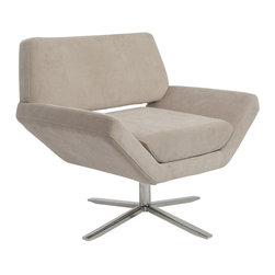Eurostyle - Eurostyle Carlotta Lounge Chair in Tan and Stainless Steel - Eurostyle - Club Chairs - 05008TAN - The second you sit, an orderly, angular look gives way to extremely comfortable experience. It�s beautifully designed alchemy that brings together crisp geometry and that I'd rather not get up now luxury.