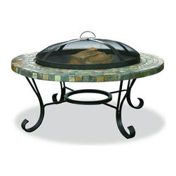 "Blue Rhino - Slate Tile / Copper Outdoor Firebowl - Uniflame WAD931SP Slate Tile / Copper Outdoor Firebowl. This Uniflame Slate provides 360 degree of warmth and view. These appealing outdoor fireplaces are affordable, portable and it is so easy to use. Family and friendly gatherings will be more fun because of the right warmth it brings to your backyard, patio and pool area. Uniflame is the top of the line for the best portable outdoor fireplaces to warm up winter and chilly nights. 21.5"" x 34"""
