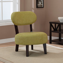 None - Jupiter Artichoke Chair - This Jupiter chair brings style to your decor with a green artichoke fabric and an espresso finished frame. A button tuft in the center of the seat cushion highlights this fun chair.