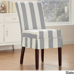 None - Cabana Dining Chair Relaxed Fit Slipcover with Buttons - This slipcover has strong,wrinkle resistant fabric that can withstand activity from kids and even animals. Protect your furniture while simultaneously adding class and updated style to the decor of any room in your home.