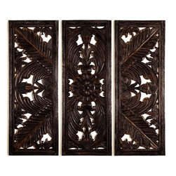 """Benzara - Wood Wall Plaque - Set of 3 - Wood Wall Plaque S/3 is an eye catching wall decor item that can be placed anywhere like lobby, porch, waiting area and entrances etc. This long lasting beautifully designed plaque can be used as office decor also.; Material: Well seasoned quality wood, Varnished to make it long lasting; Color: Black; Impressive gift; Exhibits passion for art; Dimensions: 70 """"W x 54""""H"""